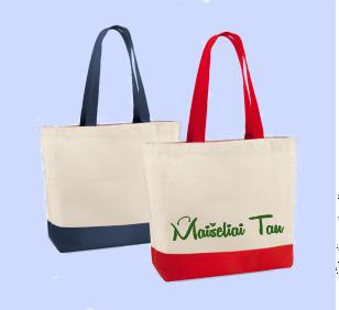 Paplūdimio krepšiai su logotipu ar užrašu